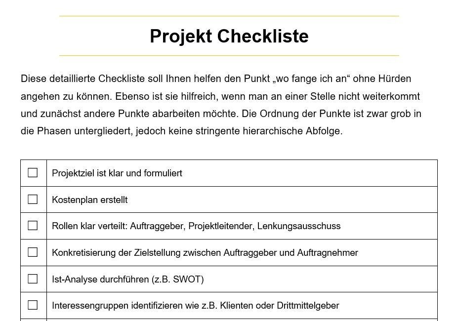 Projektmanagement Checkliste